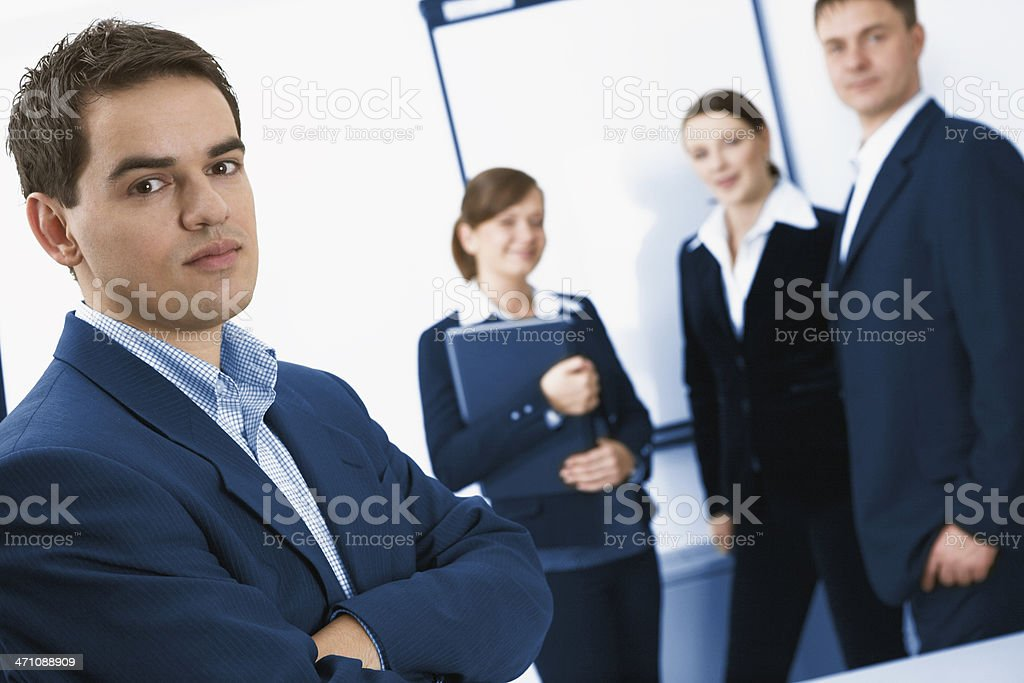 Male leader and his successful team royalty-free stock photo