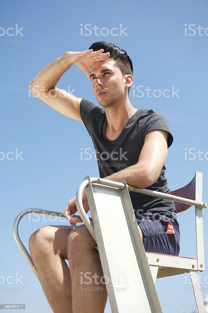 Male life guard on a summer day stock photo