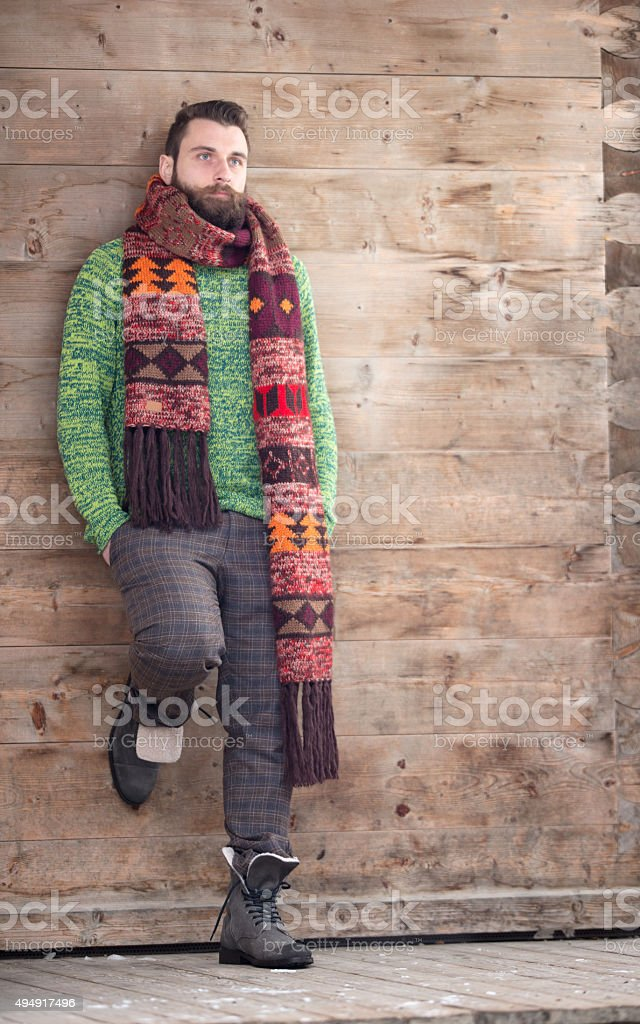 Male Lifestyle Fashion, Man with Beard and Scarf stock photo