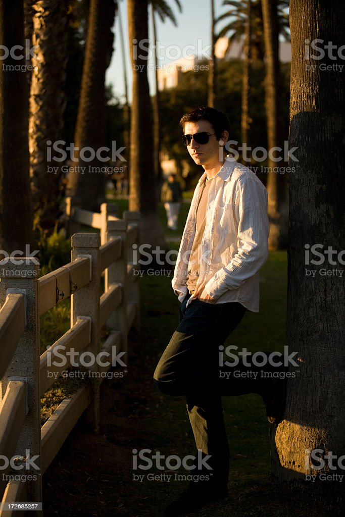 Male looking at sunset royalty-free stock photo