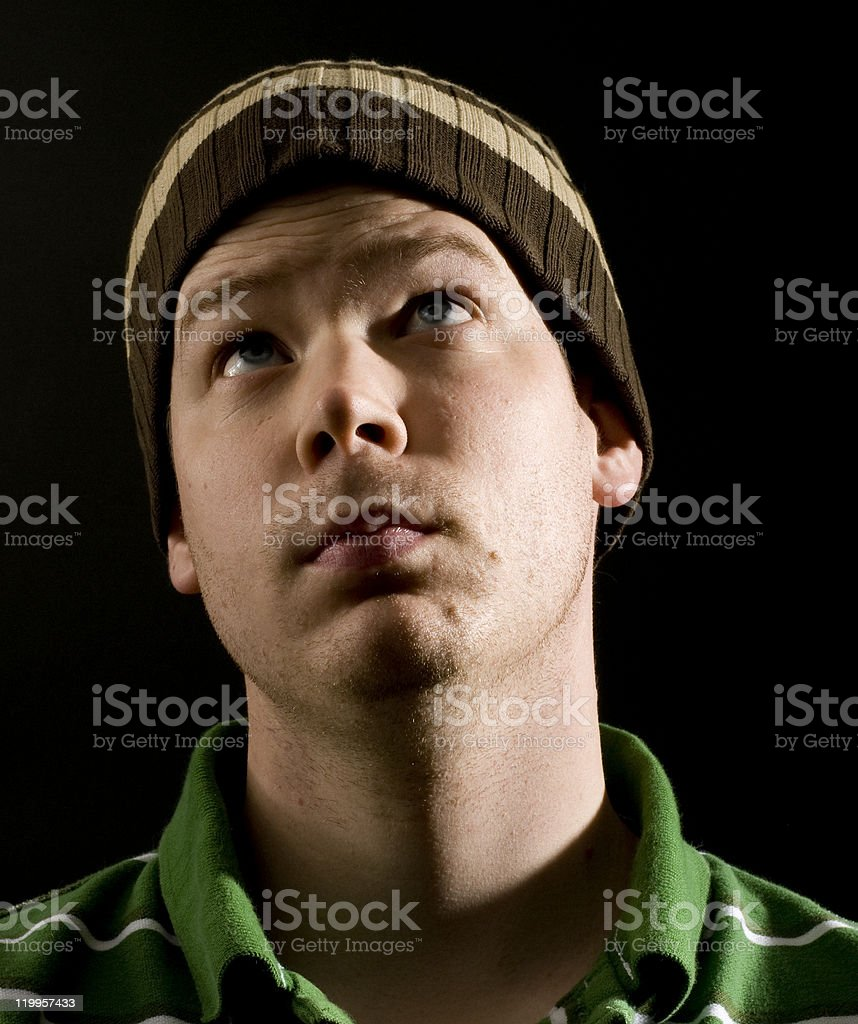 Male Looking Up stock photo