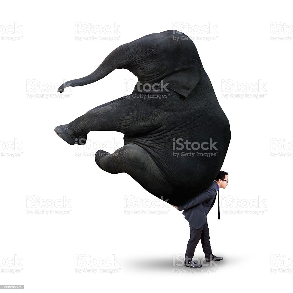 Male manager with heavy elephant stock photo