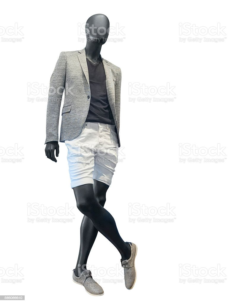 Male mannequin dressed in jacket and sort stock photo