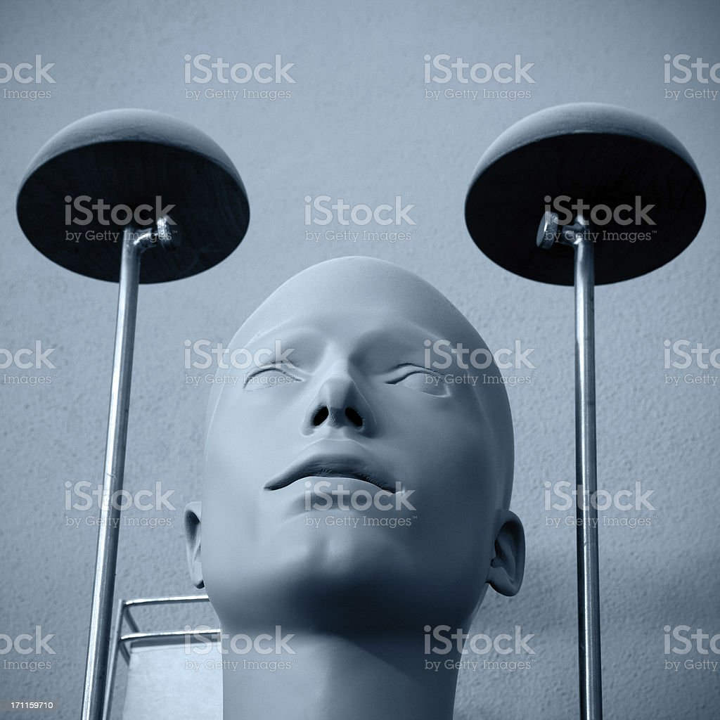 Male mannequin with two electronic lights. royalty-free stock photo