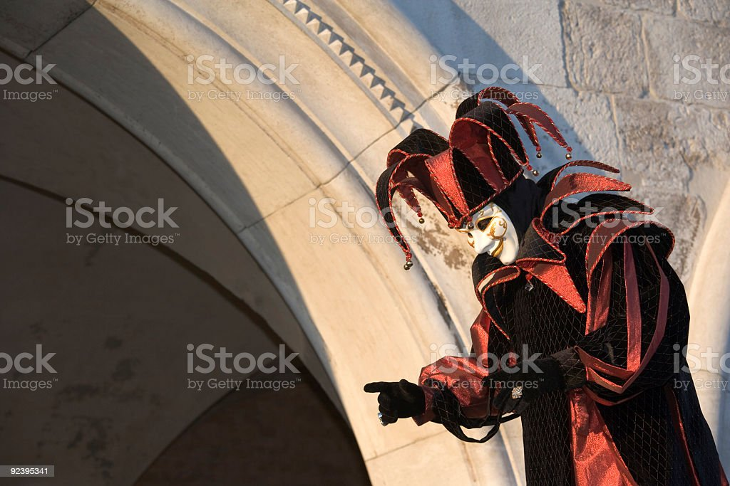 Male Mask with Jester Costume at Carnival in Venice (XL) stock photo