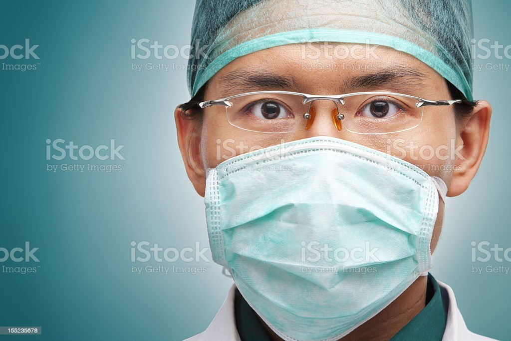 Male medical worker looking seriously royalty-free stock photo