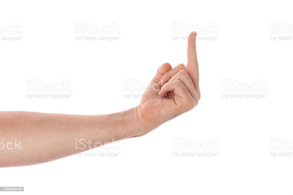male middle finger stock photo