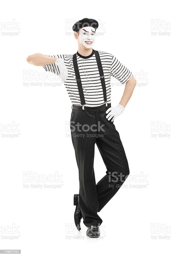 Male mime artist posing stock photo