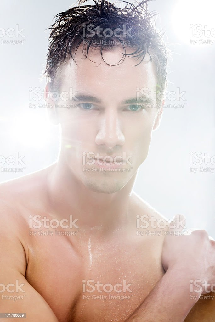 Male model after shower. royalty-free stock photo