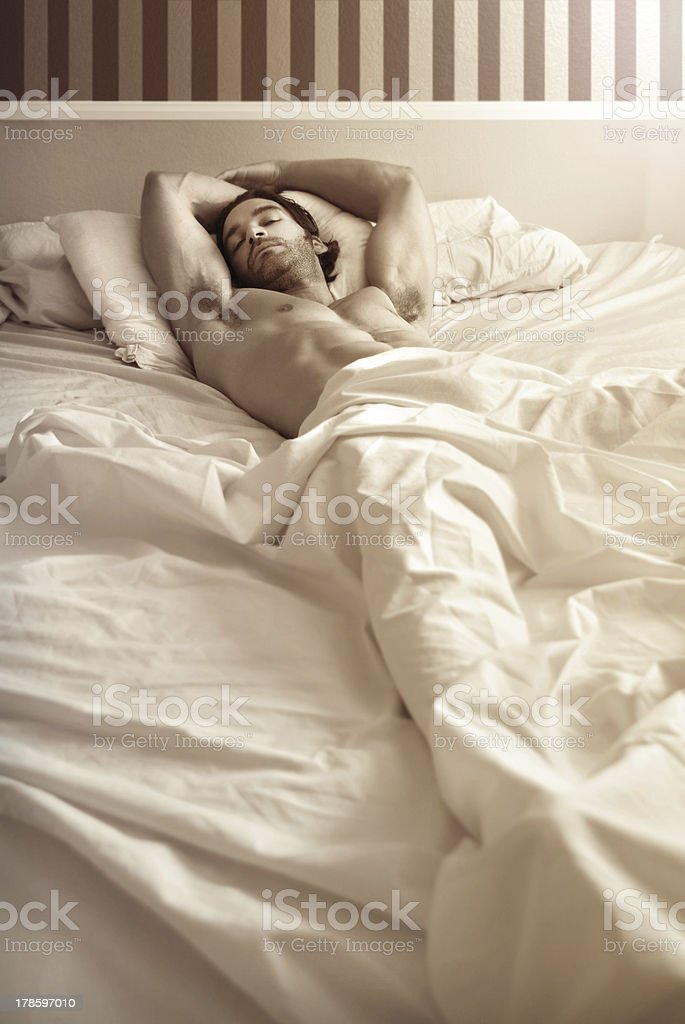 Male model in bed royalty-free stock photo