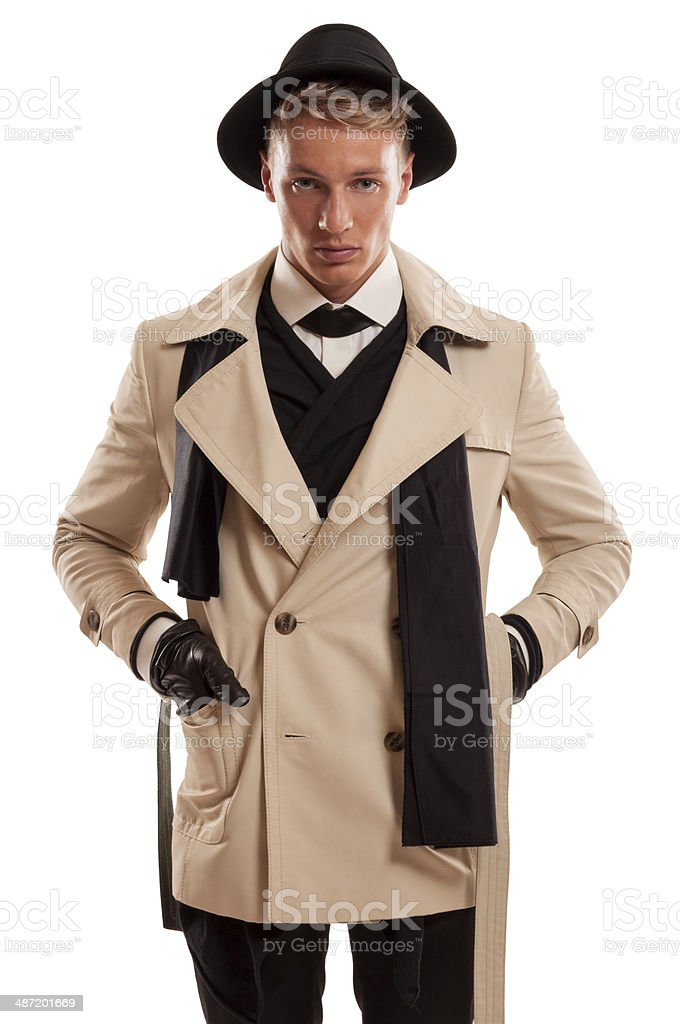 Male model playing as detective royalty-free stock photo