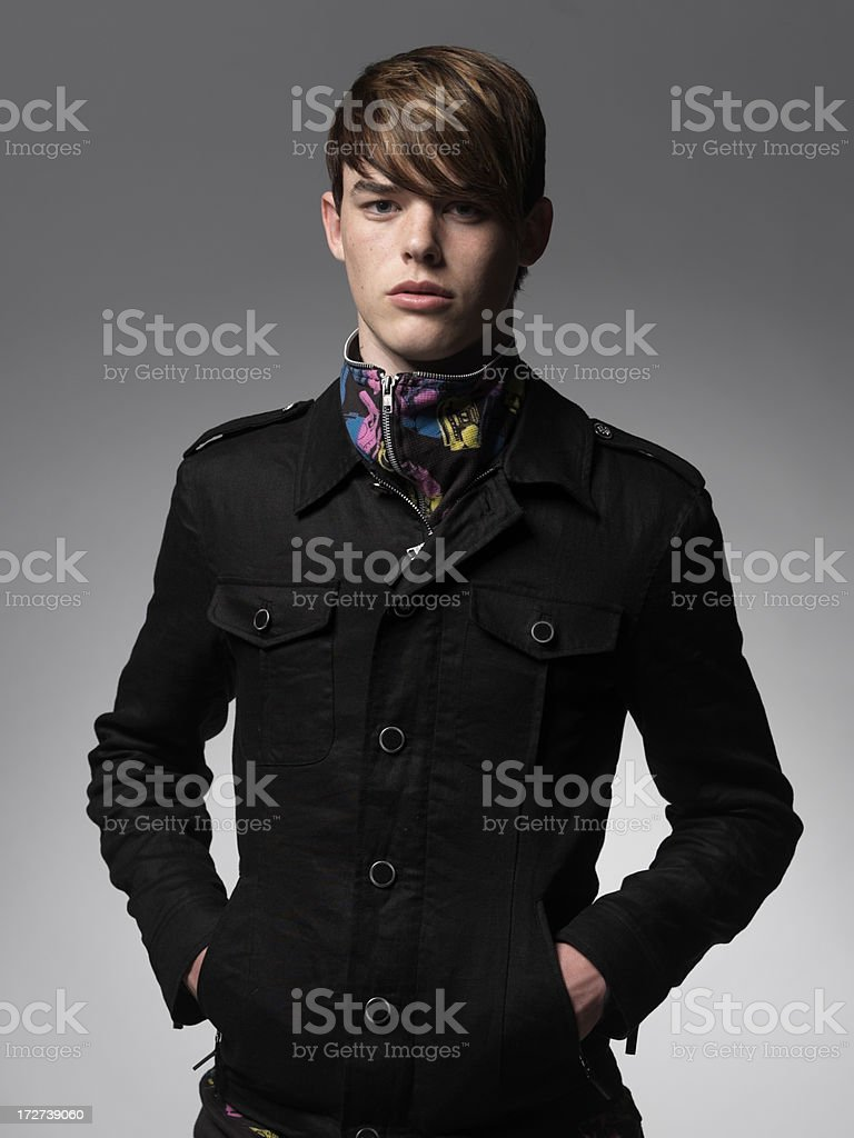 male model with sleek smooth hair stock photo