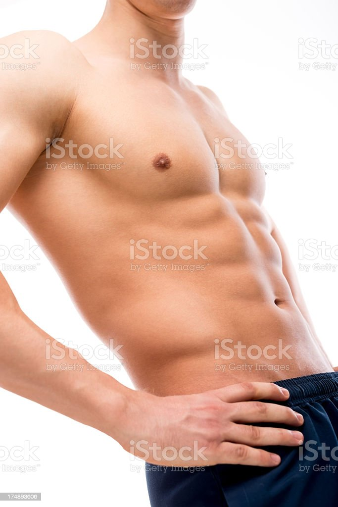 Male muscular body, isolated on white. royalty-free stock photo