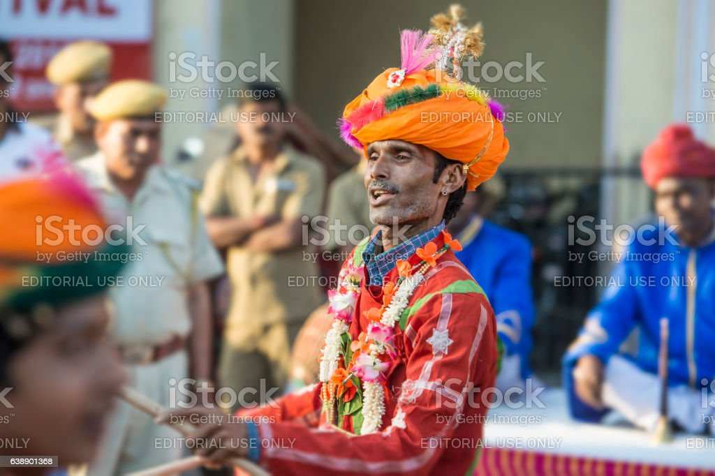 Male musican at the Gangaur Festival in Jaipur, Rajasthan, India stock photo