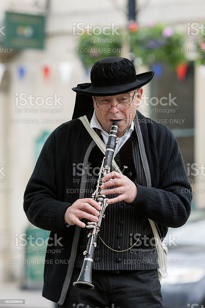 Male musician playing a clarinet. royalty-free stock photo