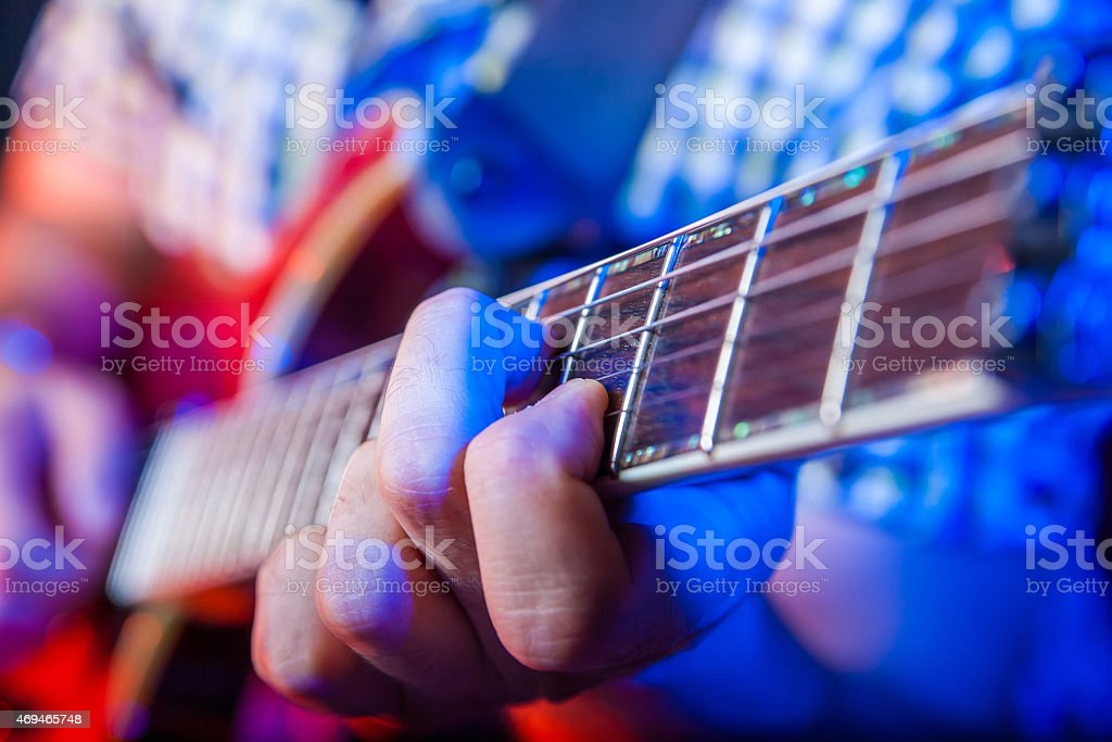 Male Musician with a acoustic Guitar stock photo