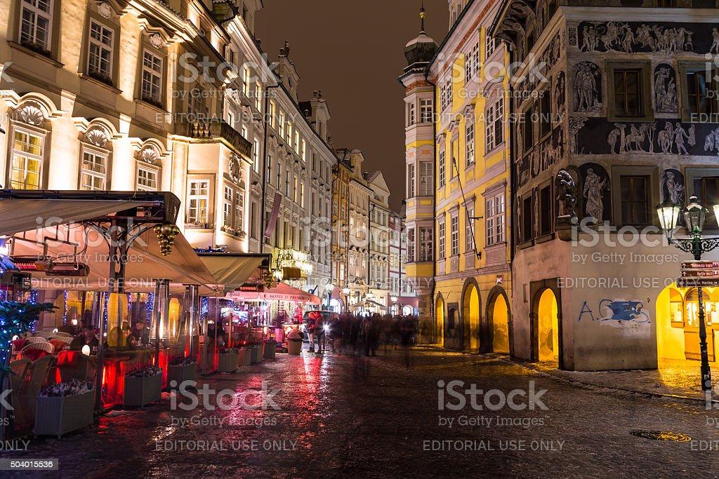 Male Namesti Street in Prague at Night stock photo