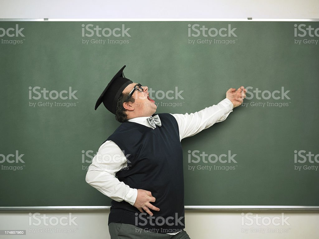 Male nerd in ecstatic mood royalty-free stock photo