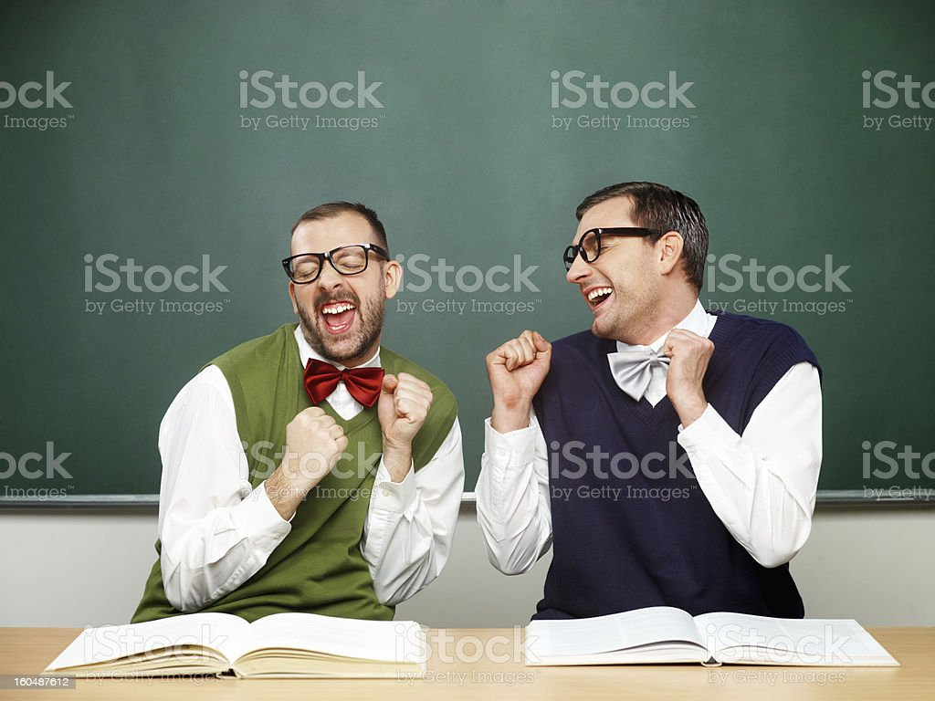 Male nerds thrilled royalty-free stock photo