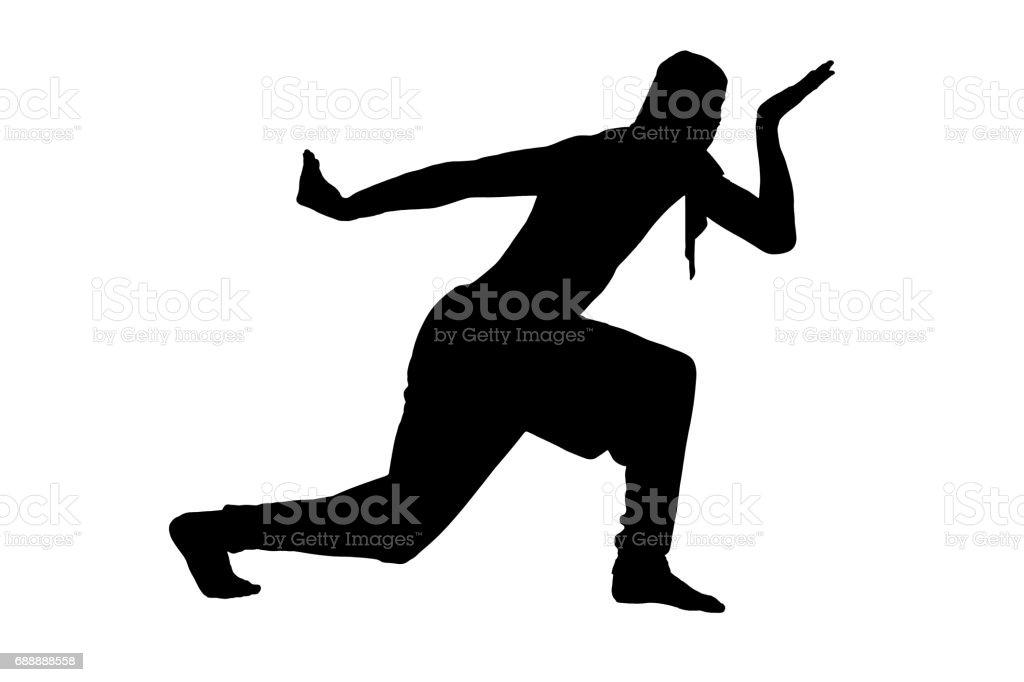 Male ninja silhouette on white background stock photo