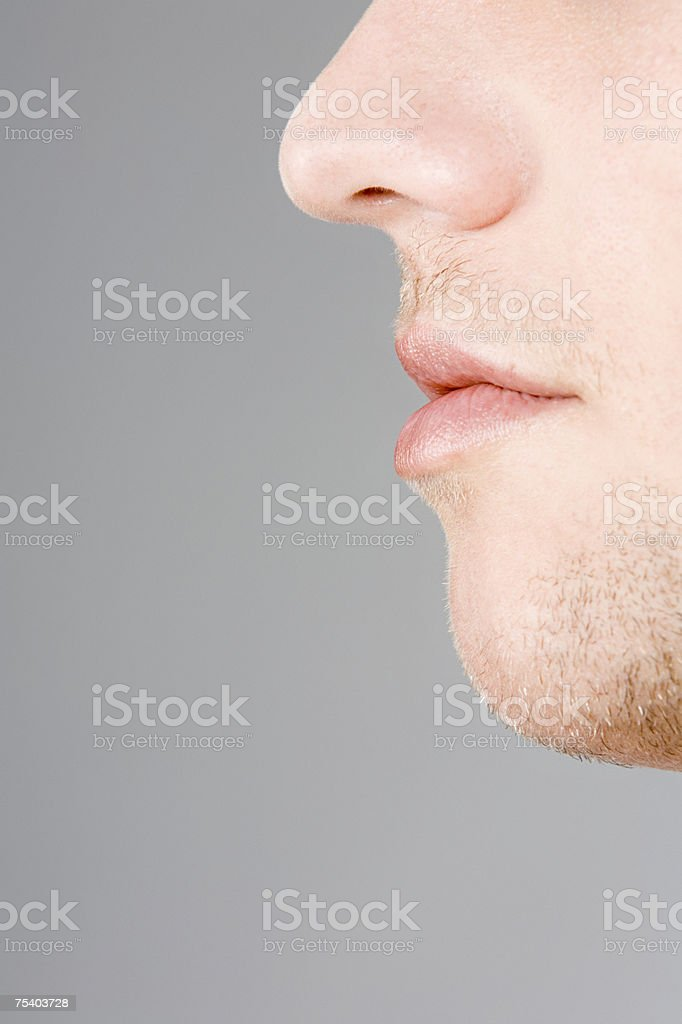 Male nose and mouth stock photo