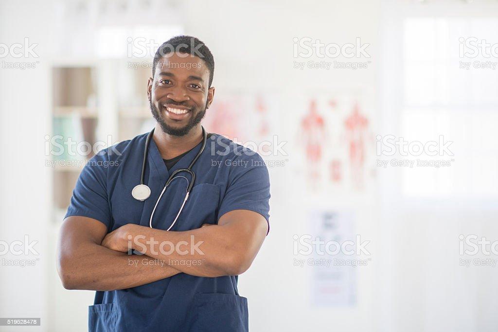 Male Nurse at the Hospital stock photo