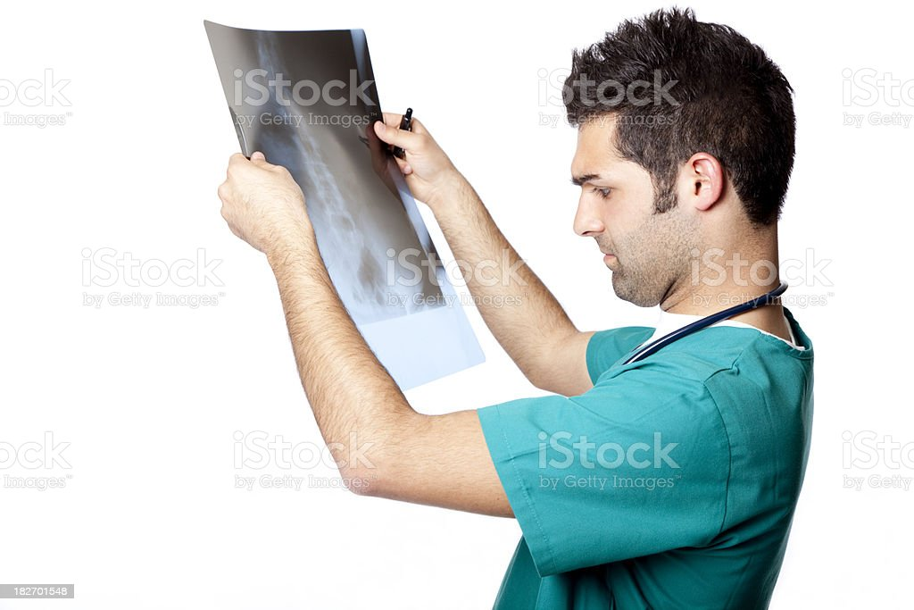 male nurse looking at x-ray royalty-free stock photo