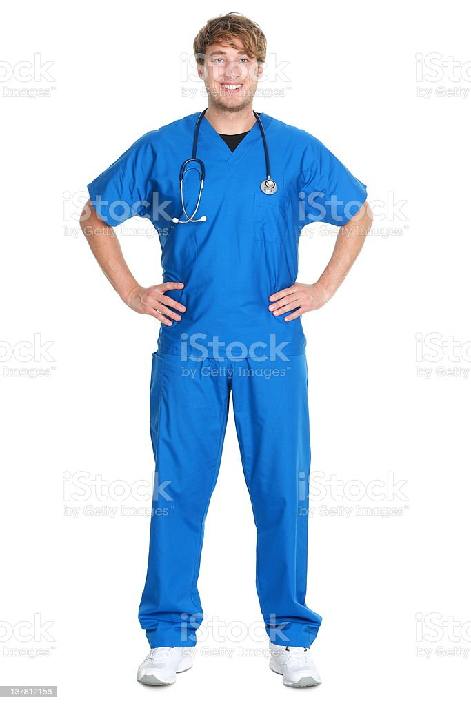 Male nurse or doctor isolated stock photo