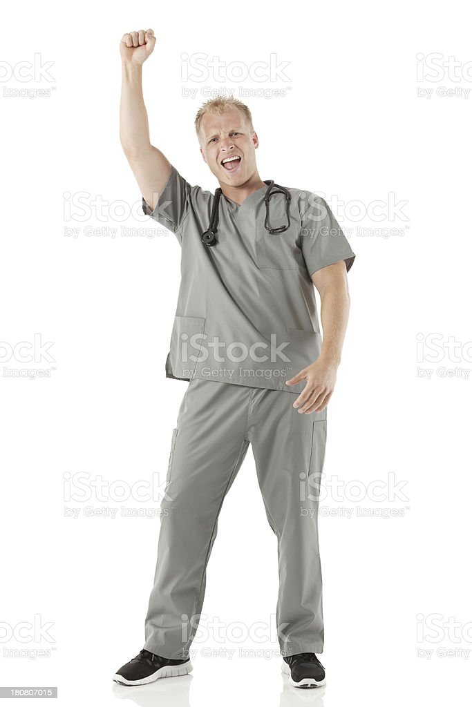 Male nurse shouting with hand raised royalty-free stock photo