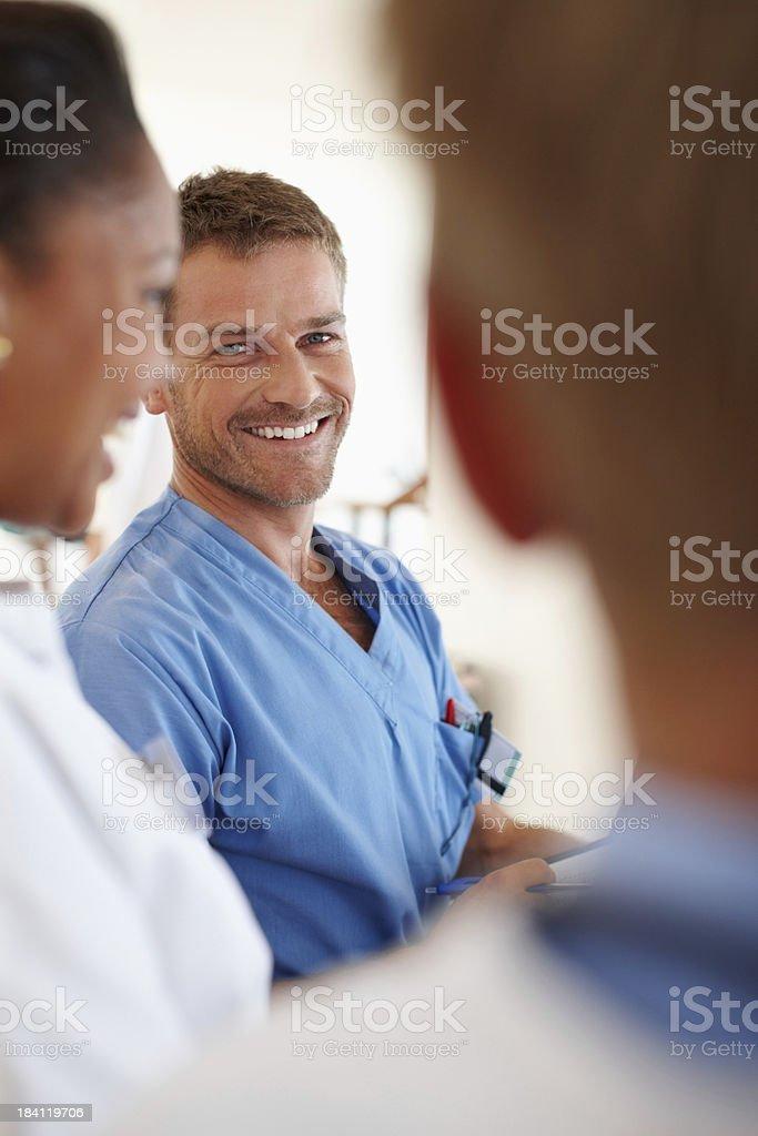 Male nurse smiling stock photo