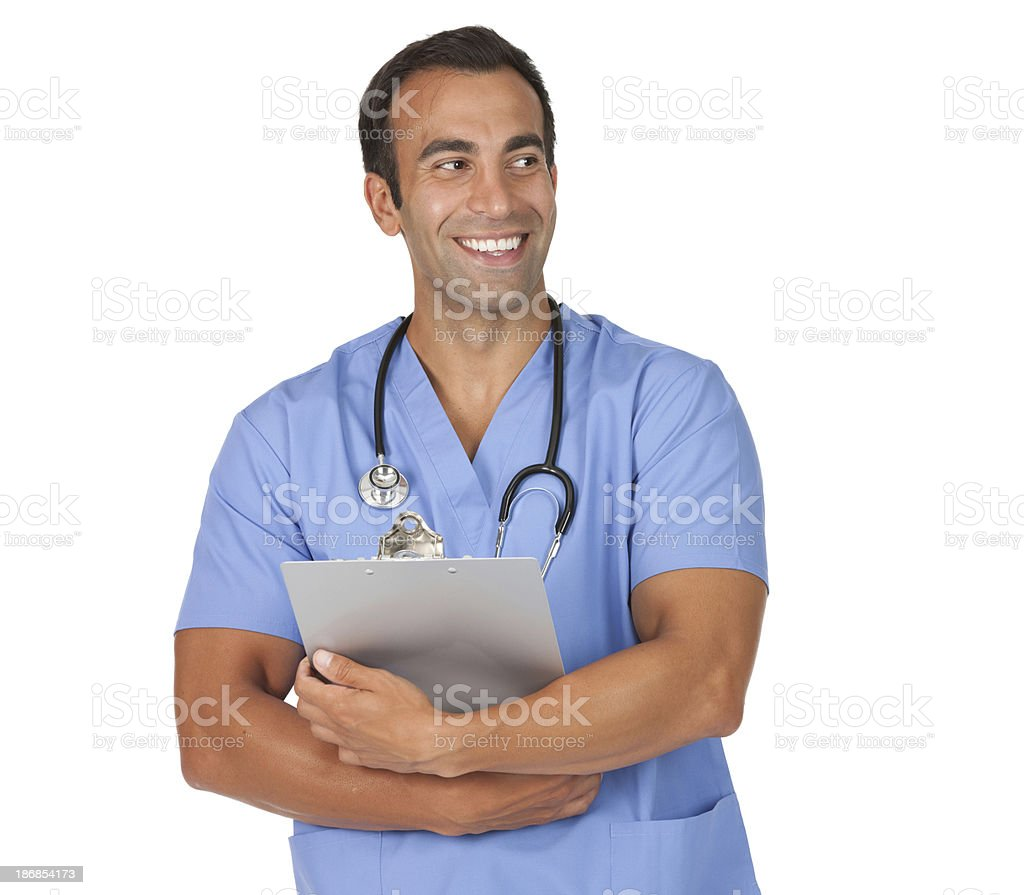 Male nurse standing with a clipboard stock photo