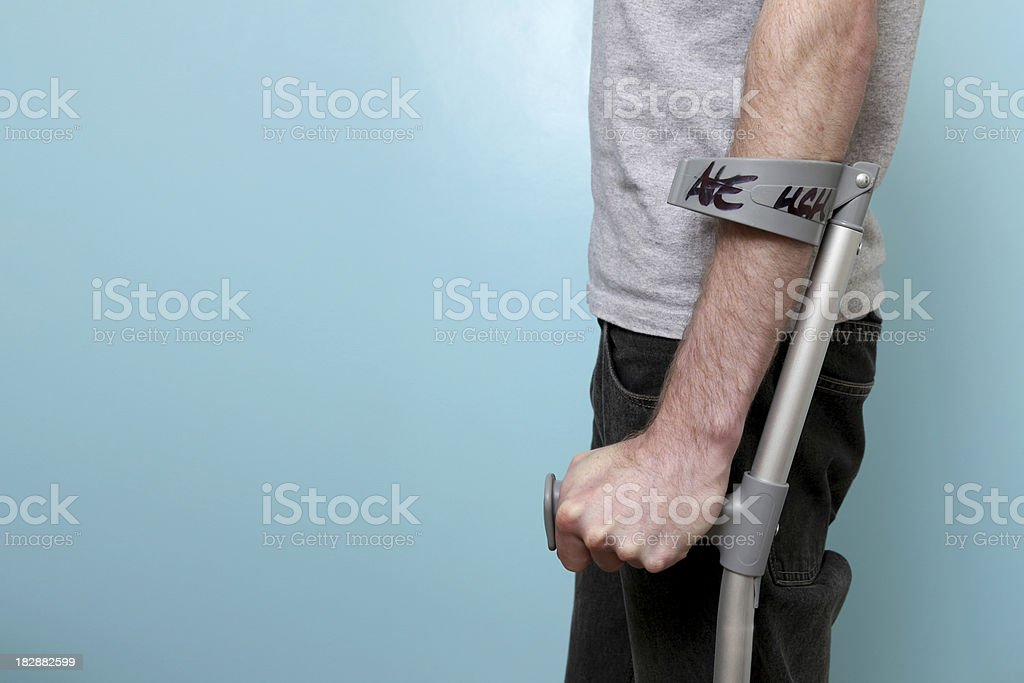 Male on crutches royalty-free stock photo
