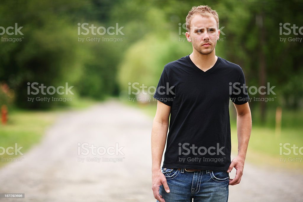 Male on Dirt Road royalty-free stock photo