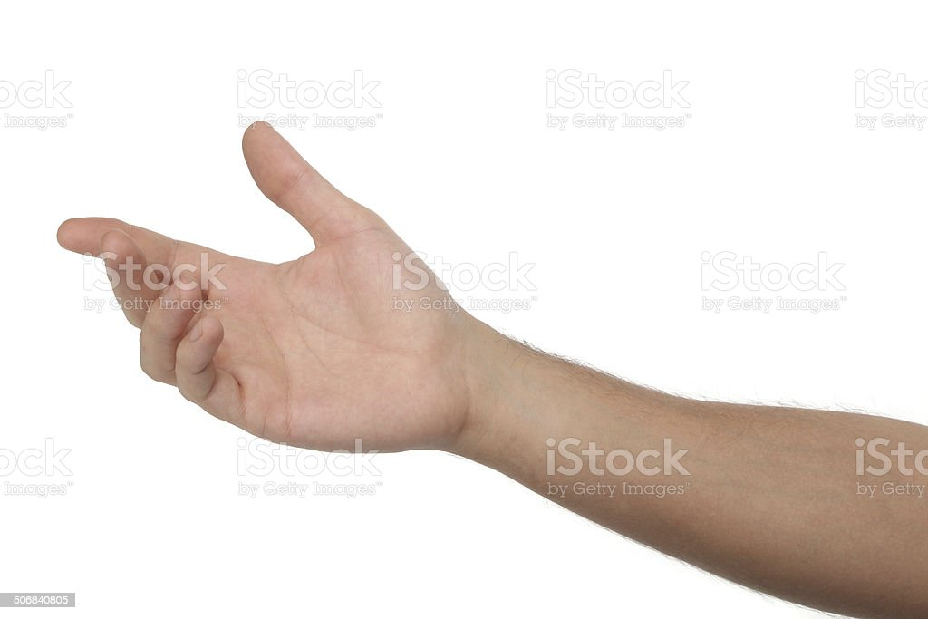 Male open hand isolated on white background stock photo