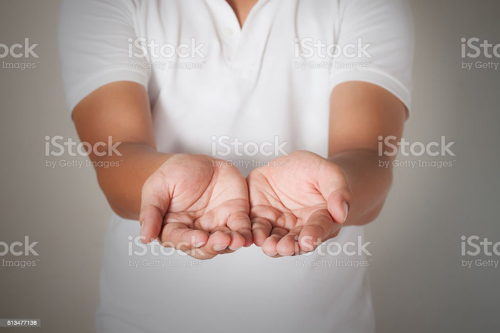 Male  open hands begging stock photo