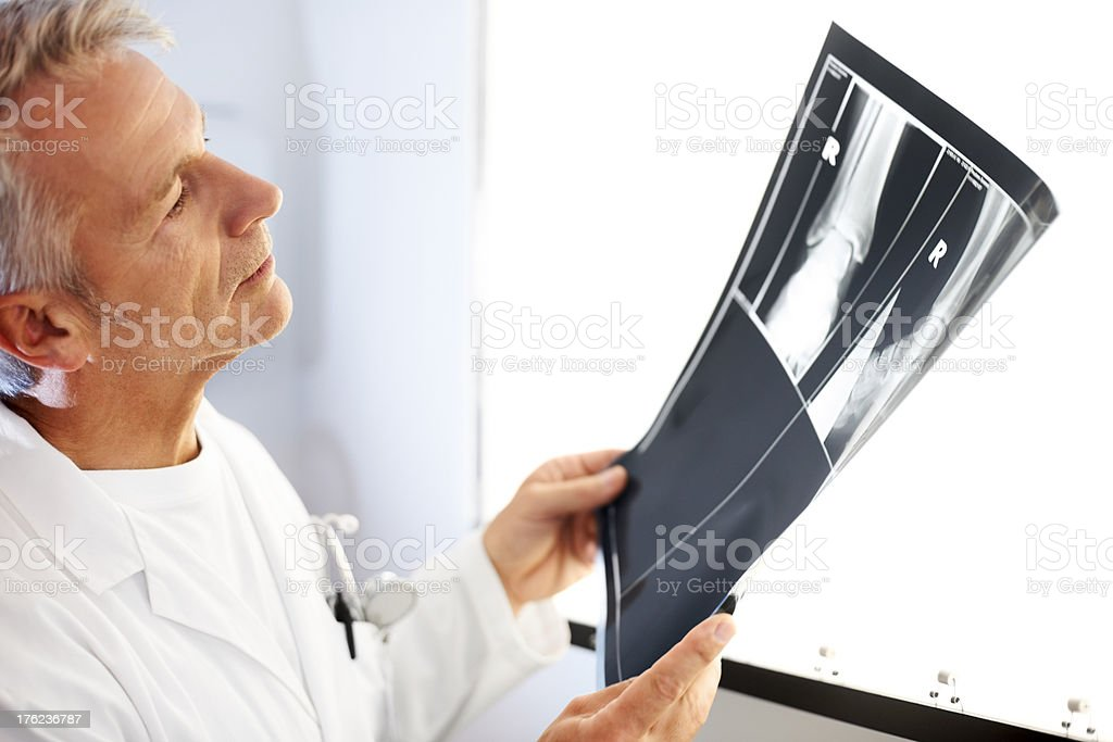 Male orthopaedic viewing a patient x-ray royalty-free stock photo
