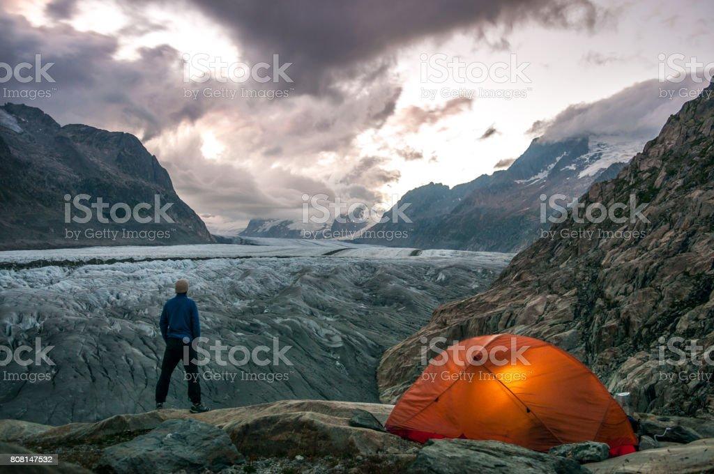 Male Outdoor Glacier Camping stock photo