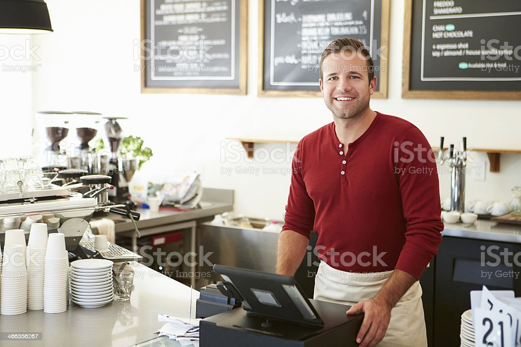Male Owner Of Coffee Shop stock photo