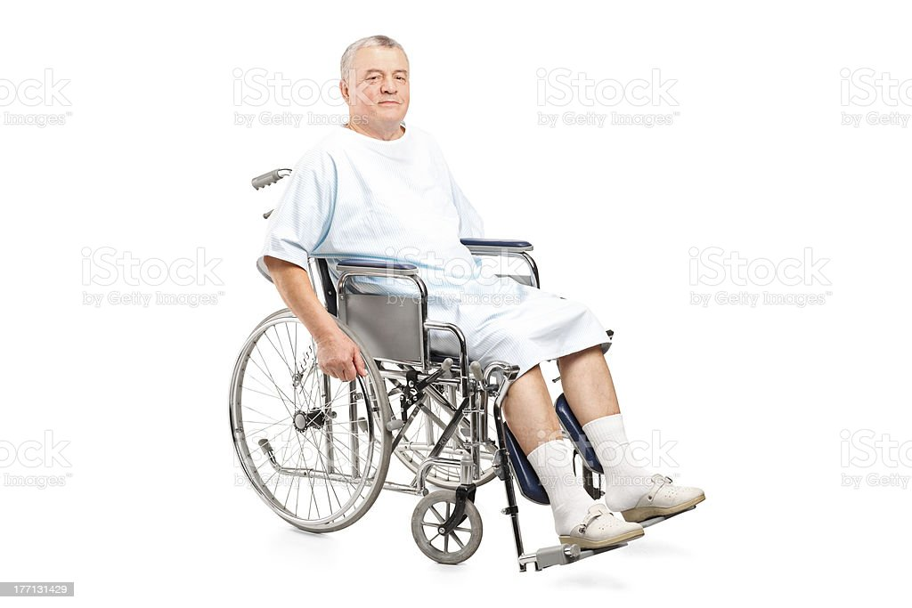 Male patient in a wheelchair royalty-free stock photo