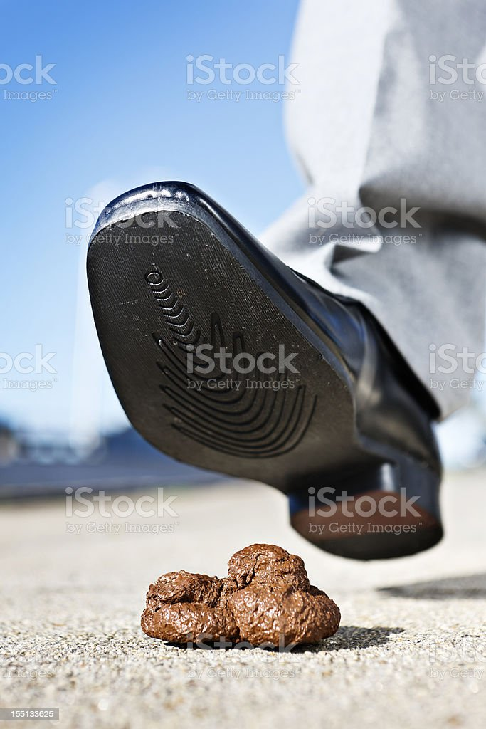 Male pedestrian's smart shoe about to tread in dog feces stock photo