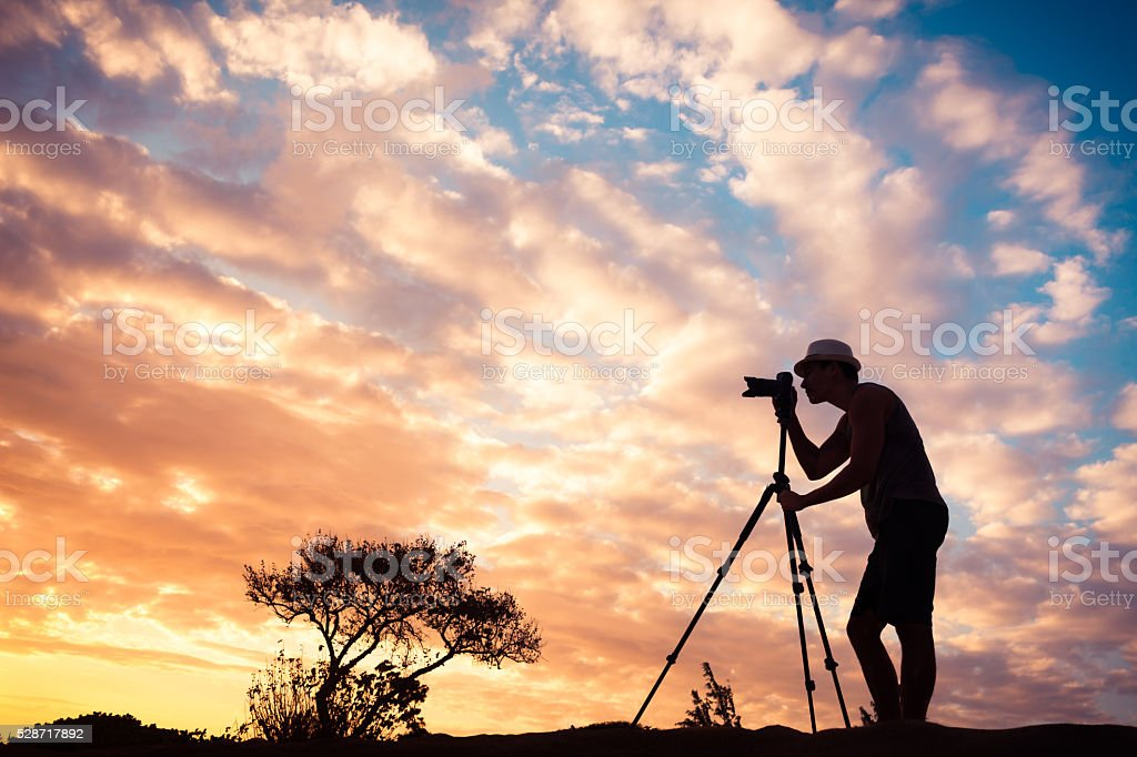 Male photographer outdoors stock photo