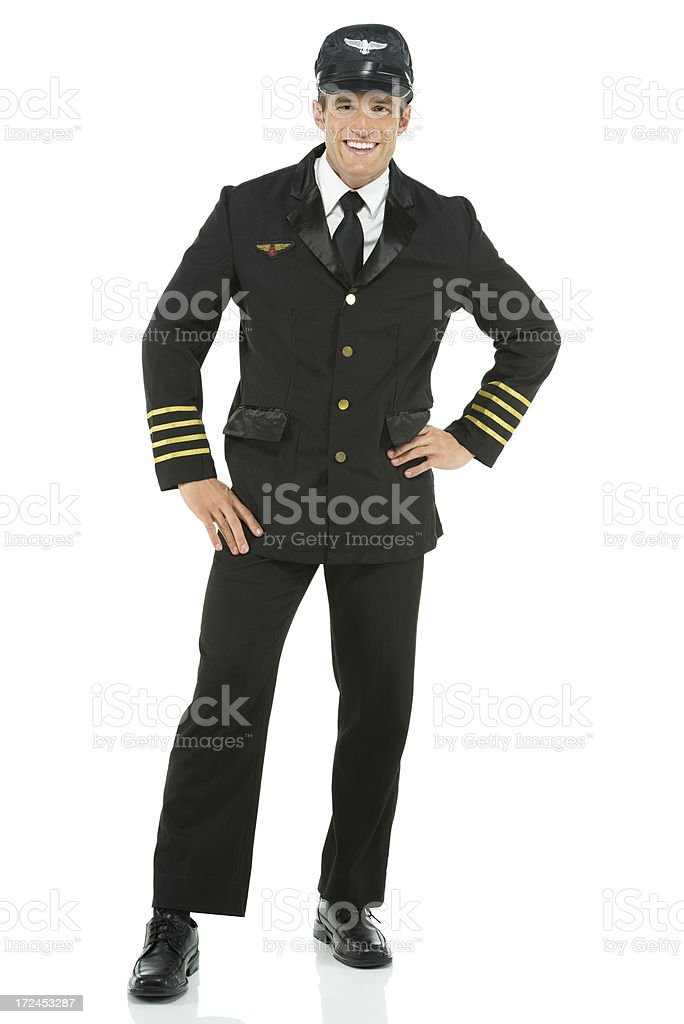 Male pilot smiling royalty-free stock photo