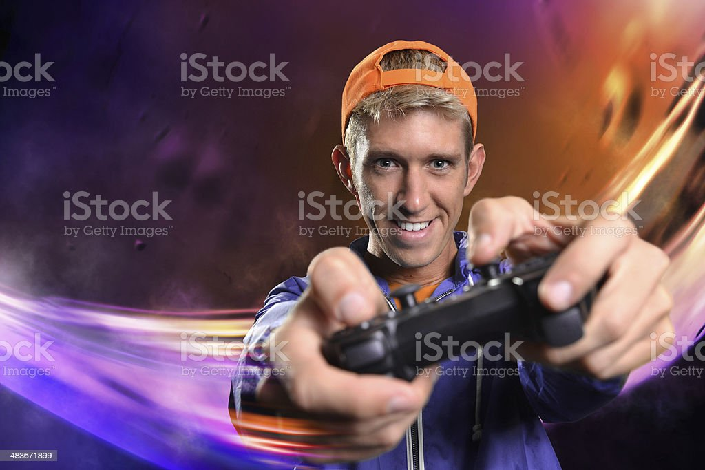 Male Playing Video Game stock photo