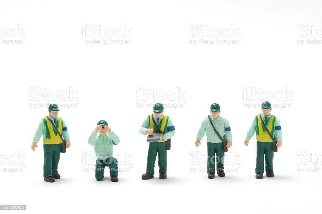 Male police officers on white background. stock photo
