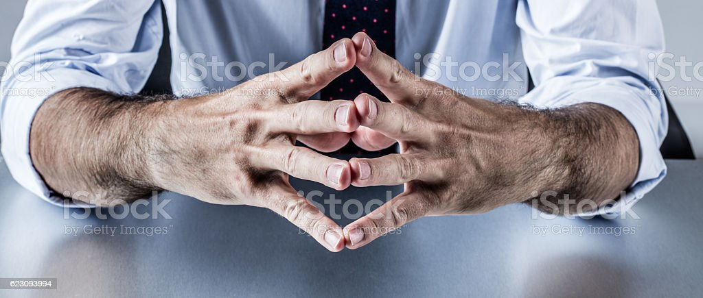 male politician or corporate man explaining with hands and leadership stock photo