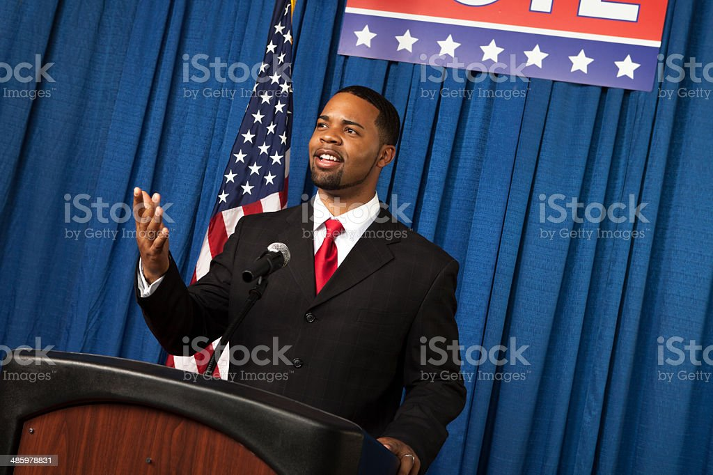 Male Politician pointing to audience stock photo