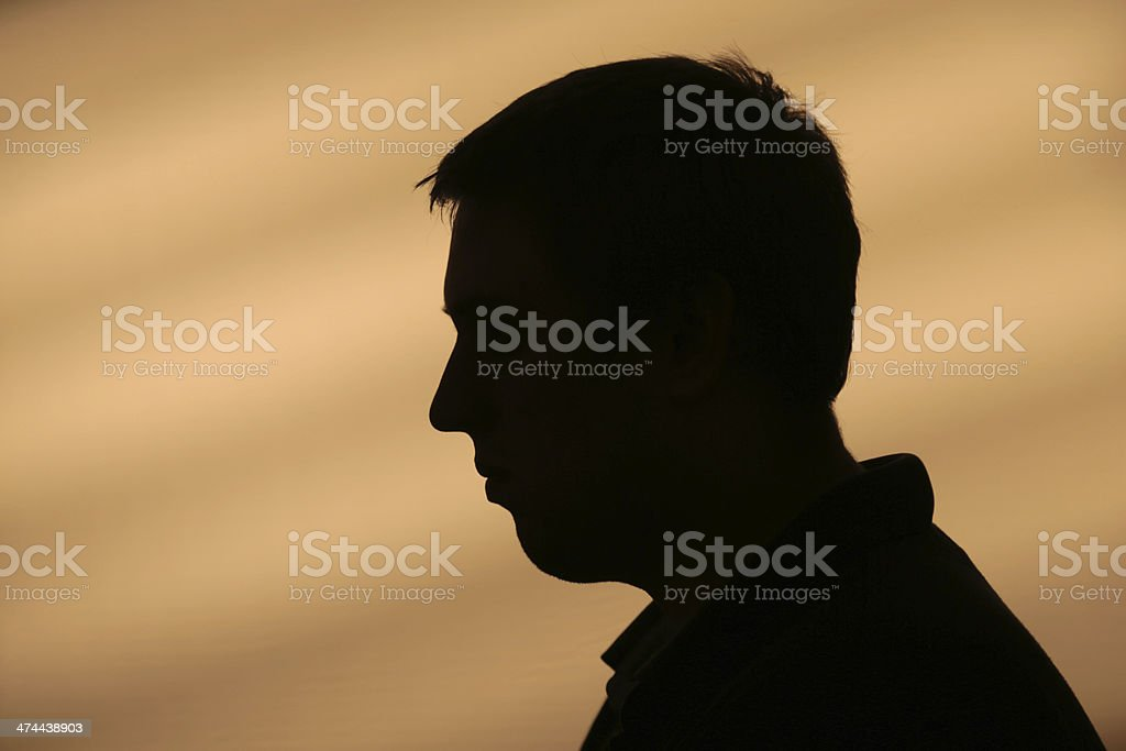 Male portrait back lit stock photo