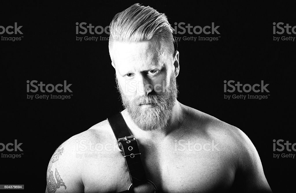 Male Portrait in Black and White stock photo