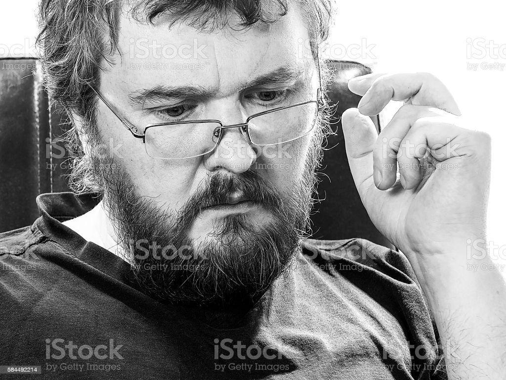 Male portrait in black and white stock photo
