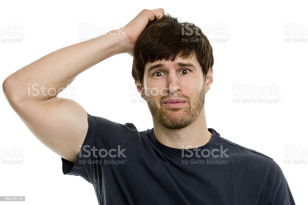 A male portrait looking confused royalty-free stock photo
